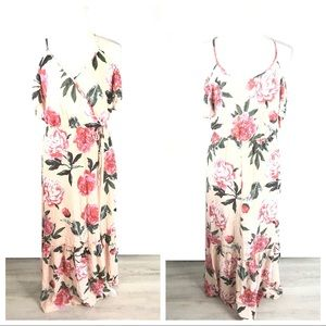 Pink Floral Off Shoulder Crinkle Maxi Dress